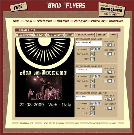 creare una locandina per evento su Band flayers